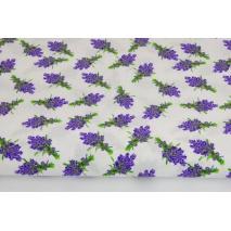 Bawełna 100% małe bukiety lawendy na białym tle