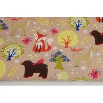 Bawełna 100% kolorowe leśne zwierzęta na beżowym tle