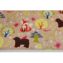 Cotton 100% colorful forest animals on a beige background