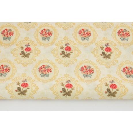 Bawełna 100% bukiety kwiatów w żółtym ornamencie