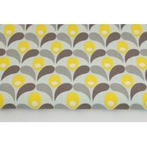 Bawełna 100% żółto-szare tulipany na miętowym tle