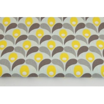 Cotton 100% yellow-gray tulips on a mint background