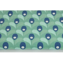 Cotton 100% blue-mint tulips on a green background