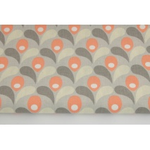 Cotton 100% salmon tulips on a beige background