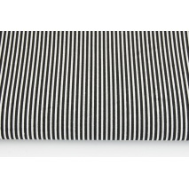 Cotton 100% black stripes 2x1mm on a white background