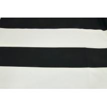 Bawełna 100% pasy czarne 9,5cm na białym tle