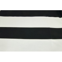 Cotton 100% black stripes 9,5 cm on a white background