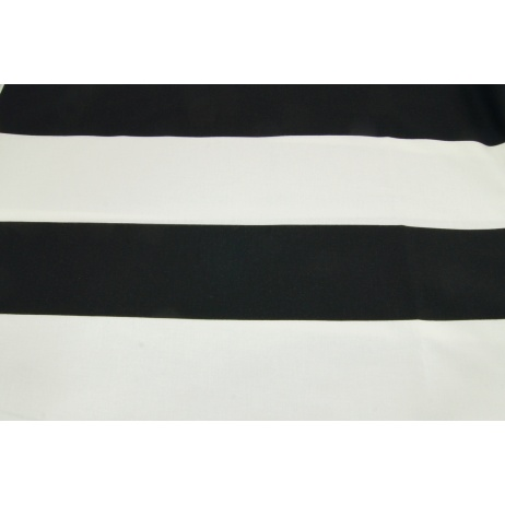 Cotton 100% black stripes 9,5 cm on a white background