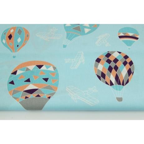 Bawełna 100% balony na błękitnym tle