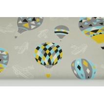 Bawełna 100% balony na jasnoszarym tle