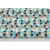 Bawełna 100% mini trójkąty łososiowo-niebieskie
