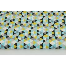 Bawełna 100% mini trójkąty musztardowo-niebiesko-czarne
