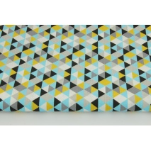 Cotton 100% mini triangles mustard-blue-black