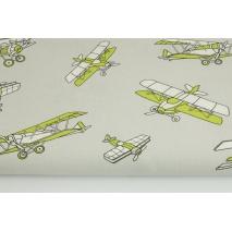 Bawełna 100% zielone samoloty na jasnoszarym tle