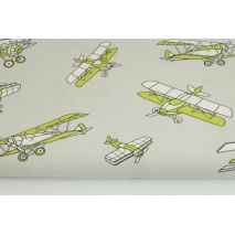 Cotton 100% green planes on a light gray background
