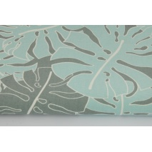 Cotton 100%, Home Decor, large turquoise, gray leaves HD
