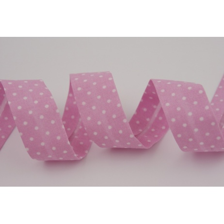 Cotton bias binding pink dotted 18mm