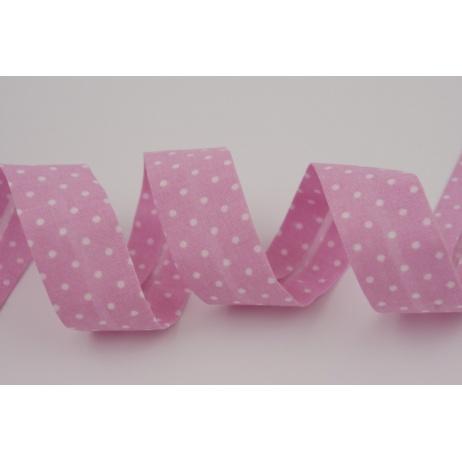 Lamówka bawełniana różowa w kropki 18mm