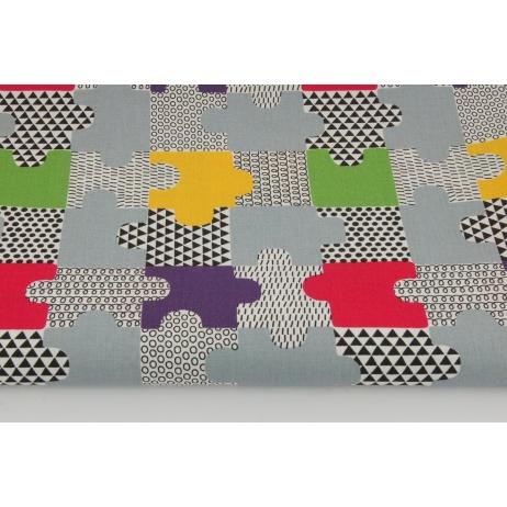 Bawełna 100% puzzle zielone, fioletowe