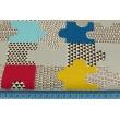 Bawełna 100% puzzle niebieskie, musztardowe