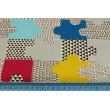 Cotton 100% puzzles blue, mustard