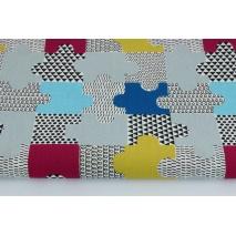 Cotton 100% puzzles blue, mustard