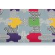 Bawełna 100% dekoracyjna, puzzle zielone, fioletowe 220g/m2