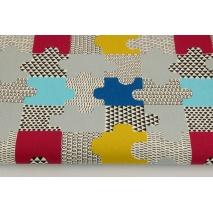 Bawełna 100% dekoracyjna, puzzle niebieskie, musztardowe 220g/m2