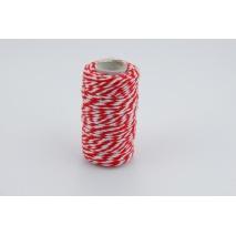 Sznurek bawełniany biało-czerwony 1,5mmx22,5m