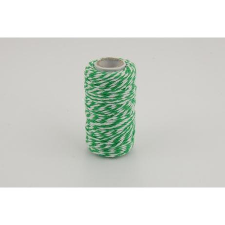 Sznurek bawełniany biało-zielony 1,5mmx22,5m