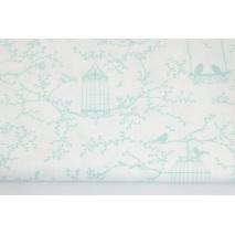 Bawełna 100% klatki, ptaszki miętowe na białym tle
