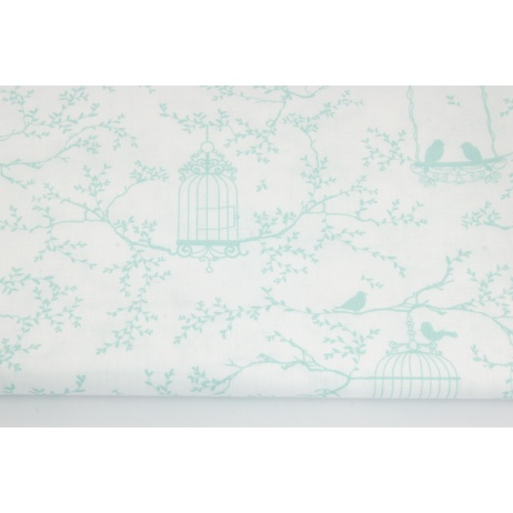 Cotton 100% mint cages and birds on a white background