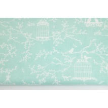 Cotton 100% cages and birds on a chilly mint background