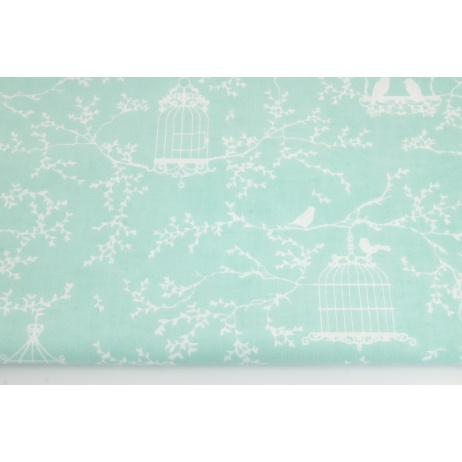 Cotton 100% cages and birds on a mint background