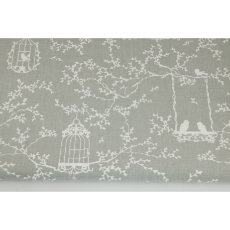 Cotton 100% cages and birds on a light gray background