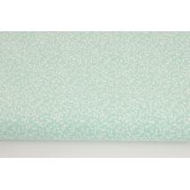 Bawełna 100% drobne listki na chłodnym, miętowym tle