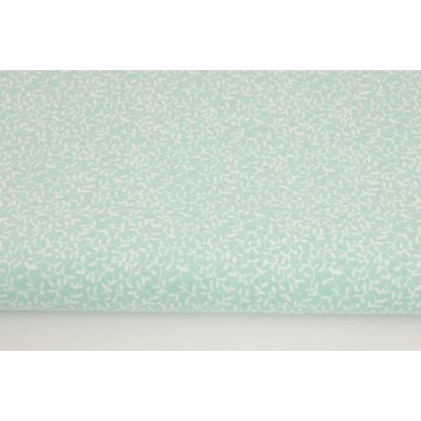 Bawełna 100% drobne listki na miętowym tle