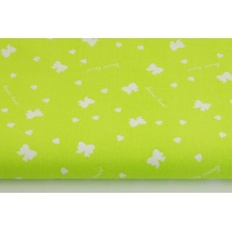 Cotton 100% white bows, hearts on a lime background