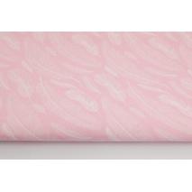 Bawełna 100% piórka białe na jasnoróżowym tle