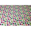 Bawełna 100% kolorowe grochy na jasnoszarym tle