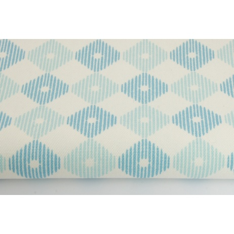 Cotton 100%, Home Decor, small diamonds in shades of turquoise