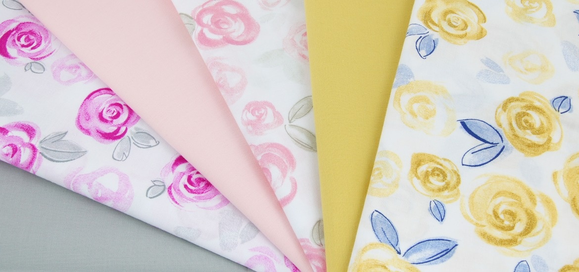Painted roses fabrics